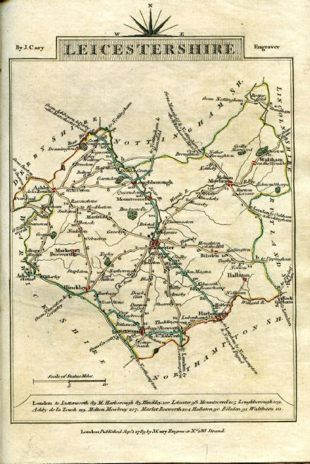 Leicestershire County Map by John Cary 1790 - Reproduction
